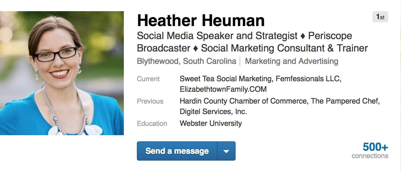 Heather Heuman's LinkedIn Headline Example