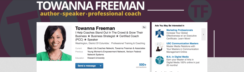 Towanna Freeman's LinkedIn Profile Header, Headline, and Profile Picture